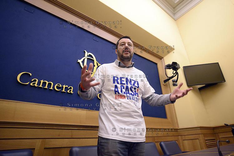 Roma, 18 Febbraio 2015<br /> Matteo Salvini in conferenza stampa alla Camera presenta la manifestazione nazionale del 28 Febbraio 2015 a Roma.