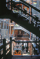Los Angeles: Bradbury Building.  Natural light flows through wrought-iron stairs. Photo '78.