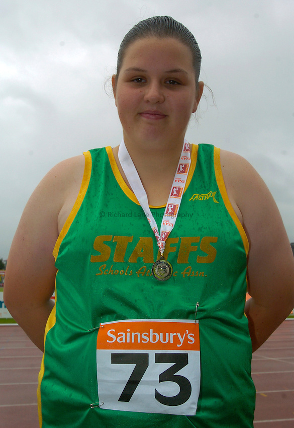 Photo: Richard Lane/Richard Lane Photography..Sainsbury's English Schools Track and Field Championships, Birmingham. 13/07/2007. .Jade Weston form Staffordshire with her Silver Medal in the Inetr Girls Shot.