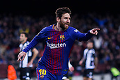 7th January 2018, Camp Nou, Barcelona, Spain; La Liga football, Barcelona versus Levante; Leo Messi of FC Barcelona turns and celebrates as he scores in the first minutes for 1-0