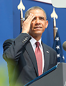 United States President Barack Obama wipes his brow as he delivers remarks marking the 60th Anniversary of the Korean War Armistice at the Korean War Veterans Memorial in Washington, D.C. on Saturday, July 27, 2013.<br /> Credit: Ron Sachs / Pool via CNP