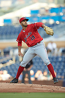 Louisville Bats starting pitcher Jose Lopez (19) in action against the Durham Bulls at Durham Bulls Athletic Park on May 28, 2019 in Durham, North Carolina. The Bulls defeated the Bats 18-3. (Brian Westerholt/Four Seam Images)