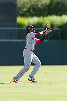 Scottsdale Scorpions left fielder Taylor Trammell (26), of the Cincinnati Reds organization, prepares to catch a fly ball during an Arizona Fall League game against the Glendale Desert Dogs at Camelback Ranch on October 16, 2018 in Glendale, Arizona. Scottsdale defeated Glendale 6-1. (Zachary Lucy/Four Seam Images)
