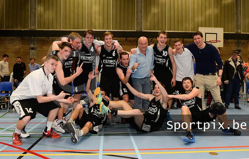 VK Iebac Kampioen in 1e provinciale 2013 - 2014 : vreugde bij spelers en trainer franky deprez na de titel<br /> foto VDB / BART VANDENBROUCKE