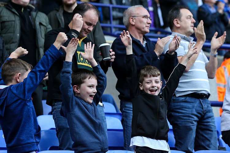 Bolton Wanderers' supporters celebrate their side's second goal<br /> <br /> Photographer Andrew Kearns/CameraSport<br /> <br /> The EFL Sky Bet Championship - Bolton Wanderers v Sheffield Wednesday - Saturday 14th October 2017 - Macron Stadium - Bolton<br /> <br /> World Copyright &copy; 2017 CameraSport. All rights reserved. 43 Linden Ave. Countesthorpe. Leicester. England. LE8 5PG - Tel: +44 (0) 116 277 4147 - admin@camerasport.com - www.camerasport.com