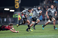 Te Toiroa Tahuriorangi in action during the Game of Three Halves between the NZ All Blacks and Canterbury at AMI Stadium in Christchurch, New Zealand on Friday, 10 August 2018. Photo: Martin Hunter / lintottphoto.co.nzz