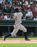 Infielder Ali Castillo (4) of the Charleston RiverDogs, a New York Yankees affiliate, in a game against the Greenville Drive on June 24, 2012, at Fluor Field at the West End in Greenville, South Carolina. Charleston won, 7-5. (Tom Priddy/Four Seam Images)