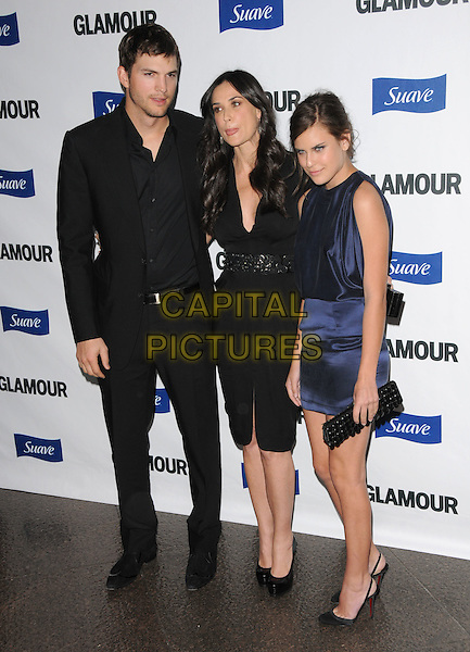 ASHTON KUTCHER, DEMI MOORE & TALLULAH BELLE WILLIS .The Glamour Reel Moments held at The DGA in West Hollywood, California, USA. .October 14th, 2008                                                                     .full length black suit dress blue clutch bag married husband wife mother mom mum daughter family step-father satin silk funny face tongue .CAP/DVS.©Debbie VanStory/Capital Pictures.
