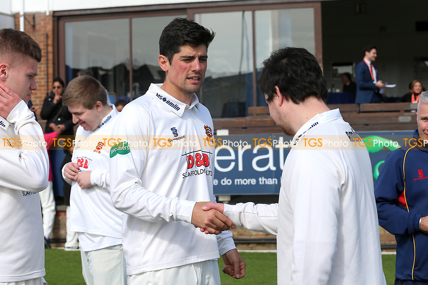 Alastair Cook of Essex shakes hand with a fan during the Essex CCC Press Day at The Cloudfm County Ground on 5th April 2017