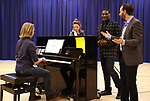 """Danny Percefull, Jessie Mueller, Norm Lewis and Marc Bruni during """"The Music Man"""" Media Day Rehearsal at the New 42nd Street Studios on January 24, 2019 in New York City."""
