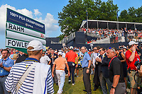 Rickie Fowler (USA) and Jon Rahm (ESP) depart 18 following the 4th round of the 100th PGA Championship at Bellerive Country Club, St. Louis, Missouri. 8/12/2018.<br /> Picture: Golffile | Ken Murray<br /> <br /> All photo usage must carry mandatory copyright credit (&copy; Golffile | Ken Murray)