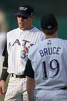 Josh Hamilton (30) chats with teammate Jay Bruce (19) prior to the game versus Indianapolis at Louisville Bats Field in Louisville, KY, Wednesday, August 8, 2007.
