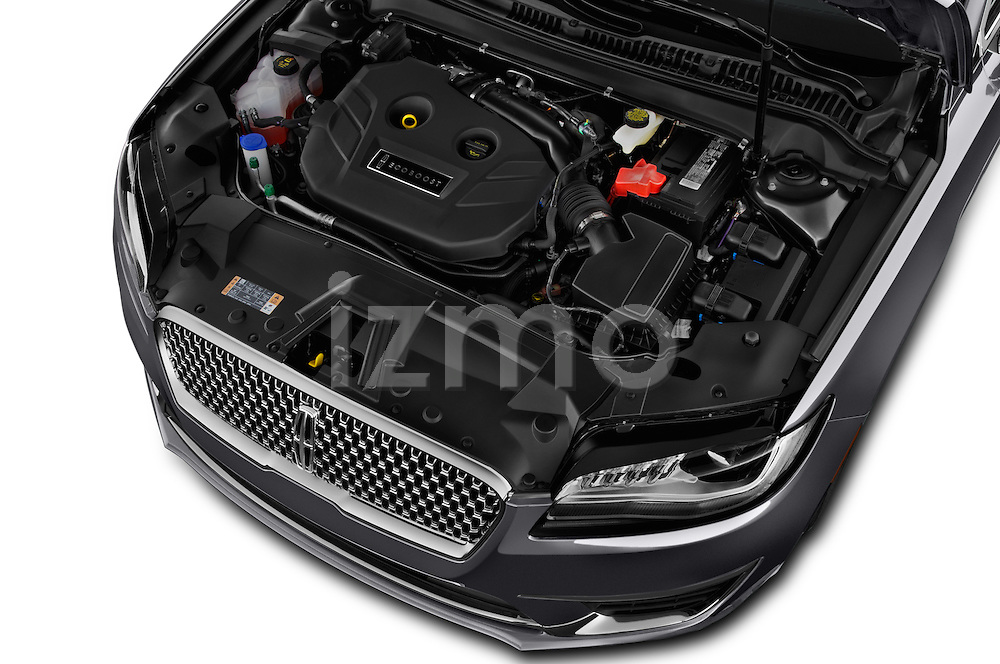 Car Stock 2017 Lincoln MKZ Reserve 4 Door Sedan Engine  high angle detail view