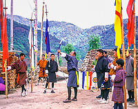 Asia, Buthan, Bunthang archers in local dress ( Archery is national sport)