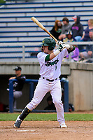 Beloit Snappers catcher Skyler Weber (1) at bat during a Midwest League game against the Quad Cities River Bandits on May 20, 2018 at Pohlman Field in Beloit, Wisconsin. Beloit defeated Quad Cities 3-2. (Brad Krause/Four Seam Images)