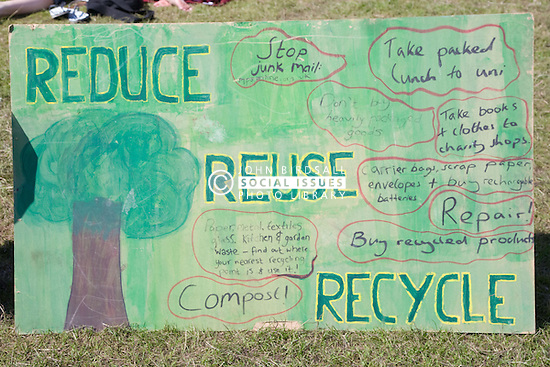 """Sign advising on how to reduce; reuse and recycle at Nottingham University Student Union """"Sounds on the Downs"""" Green Fields Festival; part of Green Week 2008,"""