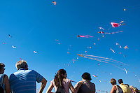 Kites flying at the Marseilles International Fête du Vent kite festival along the Prado beaches, Marseille, France.