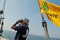 "- campaign ""Green Schooner"" for pollution monitoring in Italian seas waters, organized by enviromentalist association ""Legambiente""; on board of schooner ""Catholica"" (year of construction 1936)....- campagna ""Goletta Verde"" per monitorare l'inquinamento delle acque nei mari organizzata dall'associazione ambientalista italiana ""Legambiente""; a bordo della goletta ""Catholica"" (anno di costruzione 1936).."