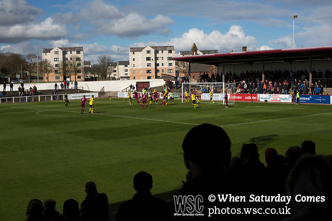 Arbroath 0 Edinburgh City 1, 15/03/2017. Gayfield Park, SPFL League 2. The home team press for the opening goal during the first-half at Gayfield Park as Arbroath hosted Edinburgh City (in yellow) in an SPFL League 2 fixture. The newly-promoted side from the Capital were looking to secure their place in SPFL League 2 after promotion from the Lowland League the previous season. They won the match 1-0 with an injury time goal watched by 775 spectators to keep them 4 points clear of bottom spot with three further games to play. Photo by Colin McPherson.