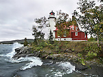 The Beautiful Eagle Harbor Lighthouse On A Cold And Windy Autumn Day, Upper Peninsula, Michigan, USA : Low Res File - 8X10 To 11X14 Or Smaller, Larger If Viewed From A Distance