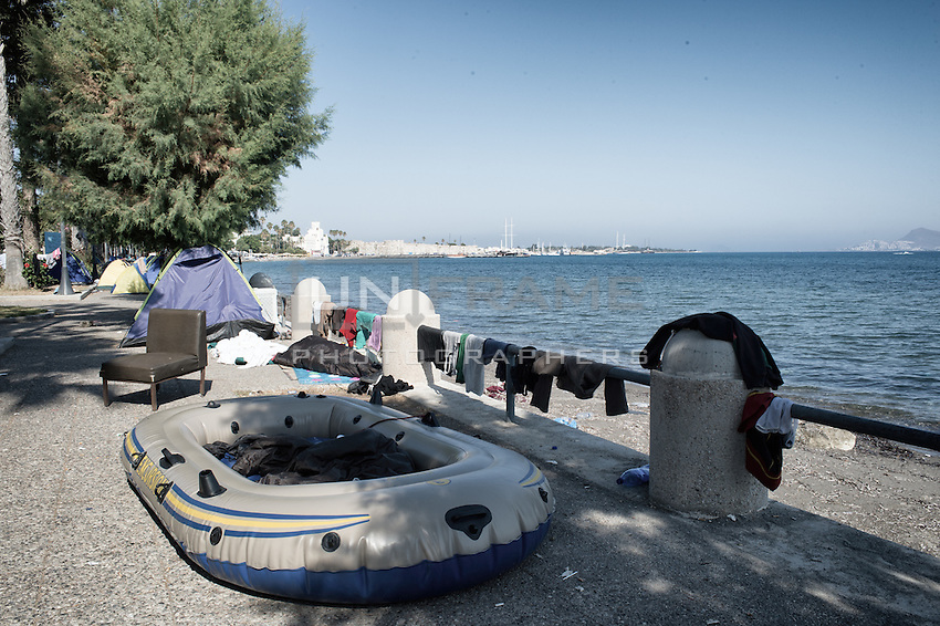 Rubber dinghy that was used to cross from Turkey, is now being used as a place to sleep. Kos, Greece. Sept. 5, 2015