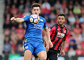 30th September 2017, Vitality Stadium, Bournemouth, England; EPL Premier League football, Bournemouth versus Leicester; Harry Maguire of Leicester looks to bring a loose ball under control, as Joshua King of Bournemouth looks to put in a challenge