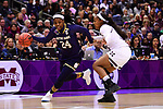 COLUMBUS, OH - APRIL 1: Arike Ogunbowale #24 of the Notre Dame Fighting Irish brings the ball up court against Roshunda Johnson #11 of the Mississippi State Bulldogs during the championship game of the 2018 NCAA Division I Women's Basketball Final Four at Nationwide Arena in Columbus, Ohio. (Photo by Justin Tafoya/NCAA Photos via Getty Images)