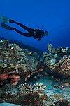 Diver over reef at reefs end molokini Maui.