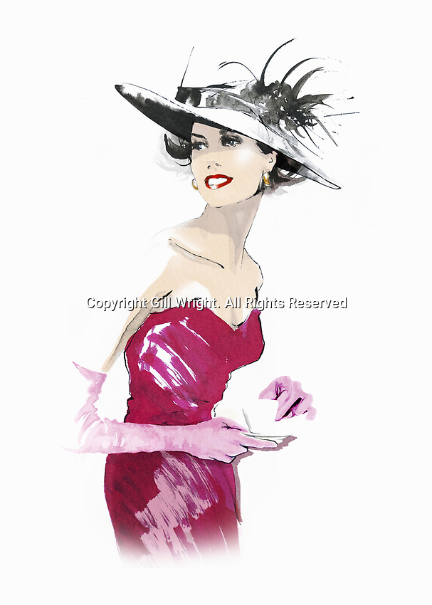 Elegant woman wearing hat and strapless dress ExclusiveImage