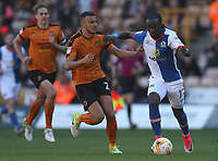 Blackburn Rovers' Marvin Emnes is tackled by Wolverhampton Wanderers' Romain Saiss<br /> <br /> Photographer Rachel Holborn/CameraSport<br /> <br /> The EFL Sky Bet Championship - Wolverhampton Wanderers v Blackburn Rovers - Saturday 22nd April 2017 - Molineux - Wolverhampton<br /> <br /> World Copyright &copy; 2017 CameraSport. All rights reserved. 43 Linden Ave. Countesthorpe. Leicester. England. LE8 5PG - Tel: +44 (0) 116 277 4147 - admin@camerasport.com - www.camerasport.com