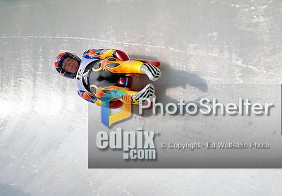 6 February 2009: Ashley Walden from the USA slides through a curve in the Women's Competition finishing in 7th place for the event with a combined time of 1:28.844 at the 41st FIL Luge World Championships, in Lake Placid, New York, USA. .  .Mandatory Photo Credit: Ed Wolfstein Photo