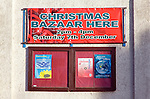Christmas Bazaar event notice on church hall at Walton, Felixstowe, Suffolk, England