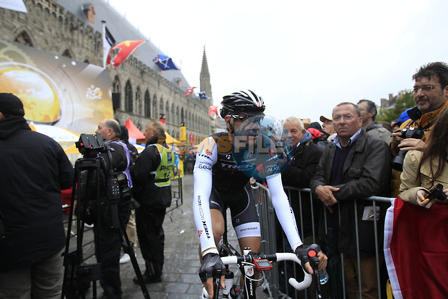 Ever cheerful Jens Voigt (GER) Trek Factory Racing at sign on in Ypres before the start of the cobbled stage Stage 5 of the 2014 Tour de France running 155.5km from Ypres to Arenberg. 9th July 2014.<br /> Picture: Eoin Clarke www.newsfile.ie