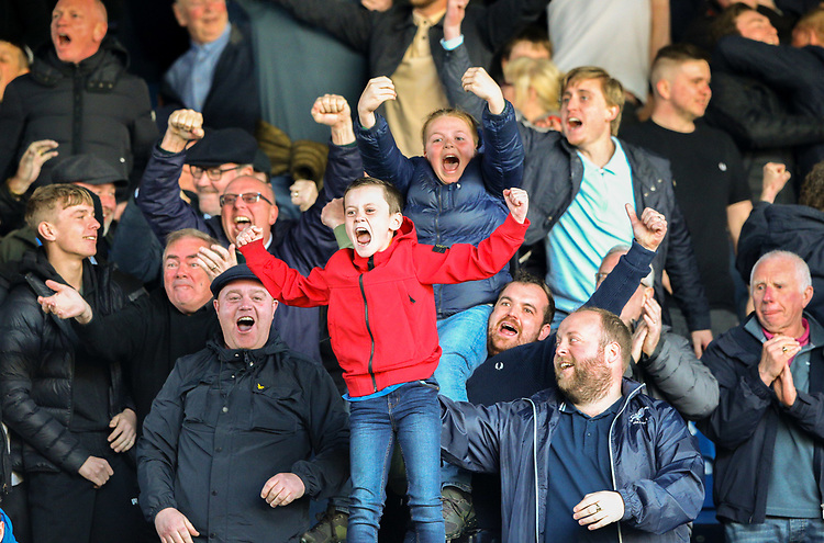 Millwall fans celebrate going 1-0 ip<br /> <br /> Photographer Alex Dodd/CameraSport<br /> <br /> The EFL Sky Bet Championship - Leeds United v Millwall - Saturday 30th March 2019 - Elland Road - Leeds<br /> <br /> World Copyright © 2019 CameraSport. All rights reserved. 43 Linden Ave. Countesthorpe. Leicester. England. LE8 5PG - Tel: +44 (0) 116 277 4147 - admin@camerasport.com - www.camerasport.com