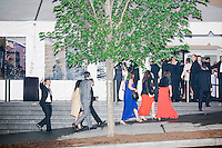 People arrive at the American Airlines Arrivals/Departures area at the MSNBC After Party at the United States Institute of Peace in Washington, DC. The party followed the annual White House Correspondents Association Dinner on Saturday, April 30, 2016. The party continued until about 3 AM on Sunday, May 1, 2016.
