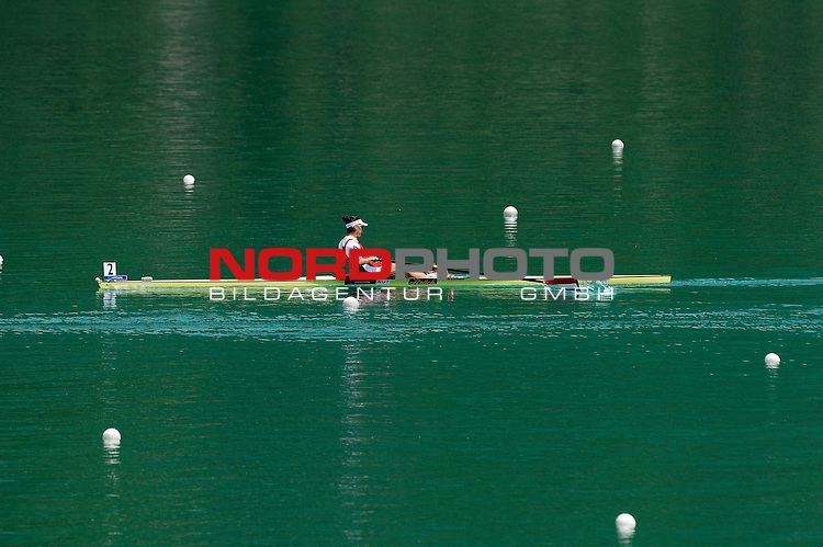 21 June,2014. World Cup Rowing, Aiguebelette, France. Magdalena Lobnig of Austria arrives third in the Women's Single Sculls final.<br /> <br /> Foto &copy; nph / Pier Paolo Piciucco