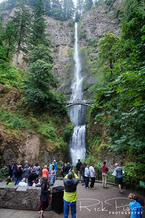 Tourists gather at the base of Multnomah Falls along the Columbia River in Northern Oregon