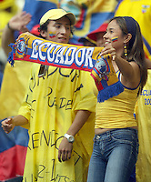 Ecuador fans celebrate before the game. Ecuador defeated Costa Rica 3-0 in their FIFA World Cup Group A match at FIFA World Cup Stadium, Hamburg, Germany, June 15, 2006.