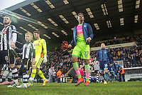 The teams head onto the pitch during the Sky Bet League 2 match between Notts County and Wycombe Wanderers at Meadow Lane, Nottingham, England on 10 December 2016. Photo by Andy Rowland.