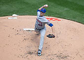 New York Mets starting pitcher Jacob deGrom (48) works in the second inning against the Washington Nationals at Nationals Park in Washington, D.C. on Thursday, April 5, 2018.<br /> Credit: Ron Sachs / CNP<br /> (RESTRICTION: NO New York or New Jersey Newspapers or newspapers within a 75 mile radius of New York City)