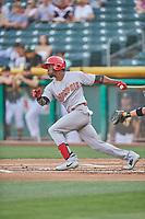 Adolis Garcia (32) of the Memphis Redbirds bats against the Salt Lake Bees at Smith's Ballpark on July 24, 2018 in Salt Lake City, Utah. Memphis defeated Salt Lake 14-4. (Stephen Smith/Four Seam Images)