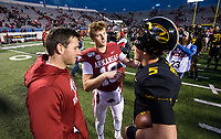 Hawgs Illustrated/BEN GOFF <br /> Austin Allen, from left, former Arkansas quarterback, Jack Lindsey, Arkansas quarterback, and Taylor Powell, Missouri quarterback, talk Saturday, Nov. 29, 2019, after the game at War Memorial Stadium in Little Rock. All three played for Fayetteville High.