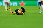 13th September 2017, Wembley Stadium, London, England; Champions League Group stage, Tottenham Hotspur versus Borussia Dortmund; Mario Gotze of Borussia Dortmund goes down injured which Jan Vertonghen of Tottenham Hotspur receives a second yellow card and sent off