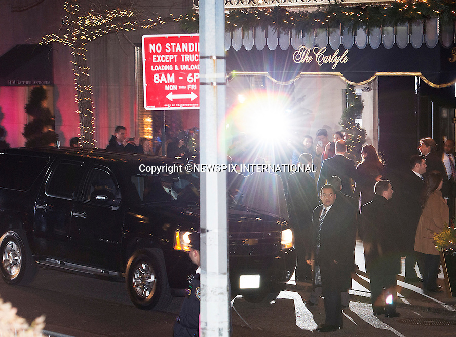 07.12.2014; New York, USA: KATE MIDDLETON AND PRINCE WILLIAM<br /> surrounded by secret service men as they make an entrance to the Carlyle Hotel at the start of their 3-day visit to New York City.<br /> Mandatory Photo Credit: &copy;Dias/NEWSPIX INTERNATIONAL<br /> <br /> **ALL FEES PAYABLE TO: &quot;NEWSPIX INTERNATIONAL&quot;**<br /> <br /> PHOTO CREDIT MANDATORY!!: NEWSPIX INTERNATIONAL(Failure to credit will incur a surcharge of 100% of reproduction fees)<br /> <br /> IMMEDIATE CONFIRMATION OF USAGE REQUIRED:<br /> Newspix International, 31 Chinnery Hill, Bishop's Stortford, ENGLAND CM23 3PS<br /> Tel:+441279 324672  ; Fax: +441279656877<br /> Mobile:  0777568 1153<br /> e-mail: info@newspixinternational.co.uk
