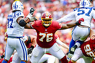 Landover, MD - September 16, 2018: Washington Redskins offensive tackle Morgan Moses (76) a tempts  to block both Indianapolis Colts defensive end Al-Quadin Muhammad (97) and Indianapolis Colts defensive end Kemoko Turay (57) during game between the Indianapolis Colts and the Washington Redskins at FedEx Field in Landover, MD. The Colts defeated the Redskins 21-9.(Photo by Phillip Peters/Media Images International)