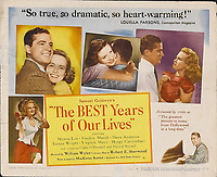 The Best Years of Our Lives (1946) <br /> Lobby Card<br /> *Filmstill - Editorial Use Only*<br /> CAP/MFS<br /> Image supplied by Capital Pictures