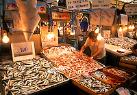 Fish market action with movement in Athens Greece