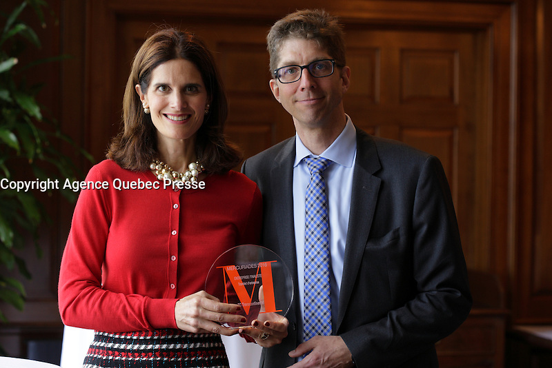 Isabelle Marcoux, Trancontinental,Finalist in the MERCURIADES Awards, March 17, 2016.<br /> <br /> Photo : Pierre Roussel - Agence Quebec Presse