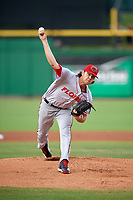 Florida Fire Frogs starting pitcher Ian Anderson (30) runs to first base delivers a pitch during a game against the Clearwater Threshers on June 2, 2018 at Spectrum Field in Clearwater, Florida.  Clearwater defeated Florida 10-6.  (Mike Janes/Four Seam Images)