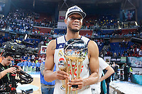 Real Madrid's Anthony Randolph celebrating the championship  during Finals match of 2017 King's Cup at Fernando Buesa Arena in Vitoria, Spain. February 19, 2017. (ALTERPHOTOS/BorjaB.Hojas) /NortEPhoto.com